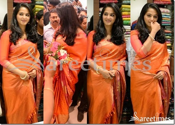 Anushka_ORange_Traditional_Silk_Saree