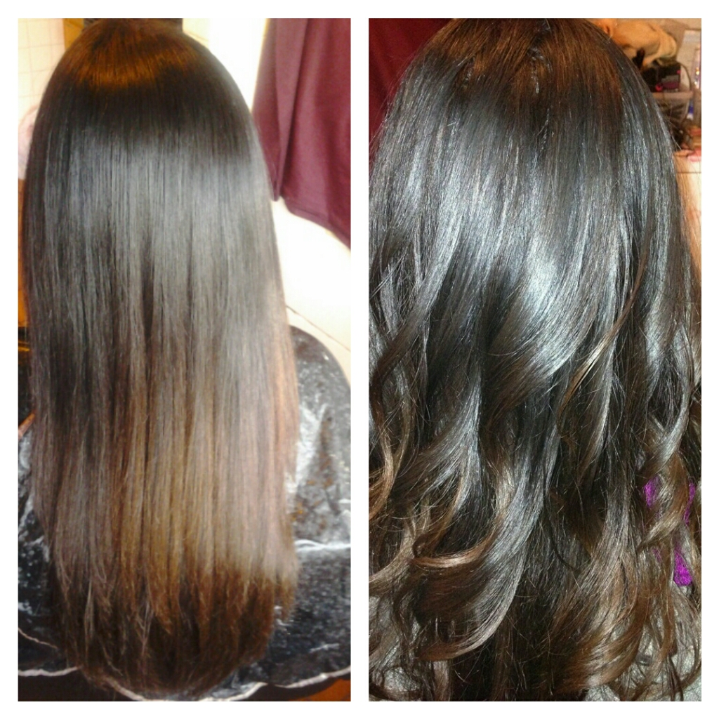 Brown Hair with Lowlights Before and After