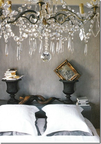 bedroom with gray plaster walls and crystal via pinterest