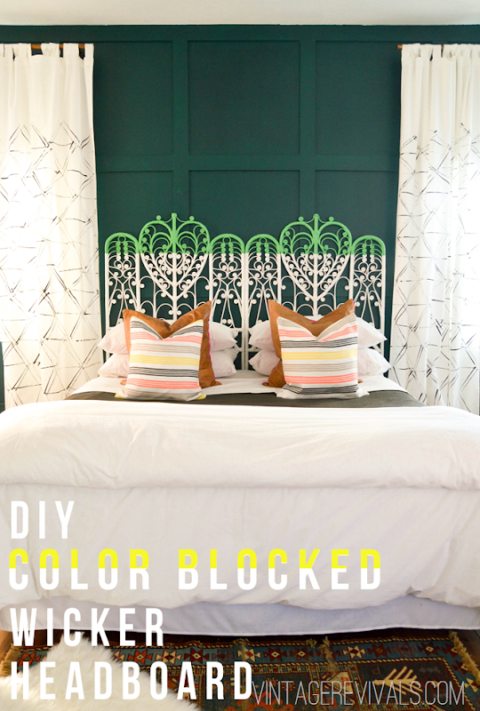 Color Blocked Vintage Wicker Headboard Tutorial