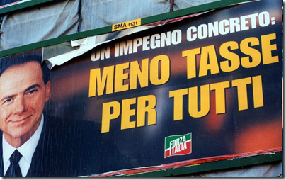 """Manifesto di Berlusconi ai tempi di """"Forza Italia"""""""