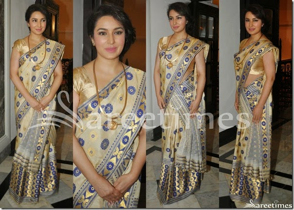 Tisca_Chopra_Cream_Silk_Saree