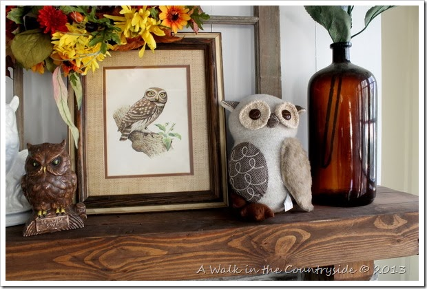 Fall mantel with owls