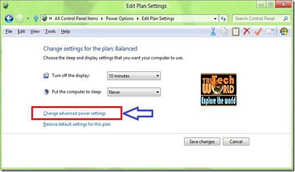 Windows 8 Advance Power Options