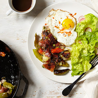 Shishito Pepper Potato Hash with Fried Eggs