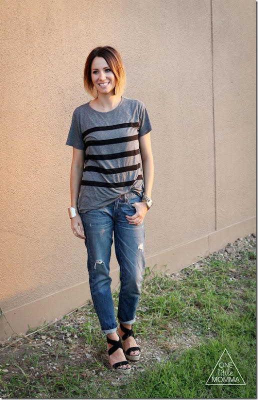 Boyfriend jeans styled with loose tee and wedges- easy and chic