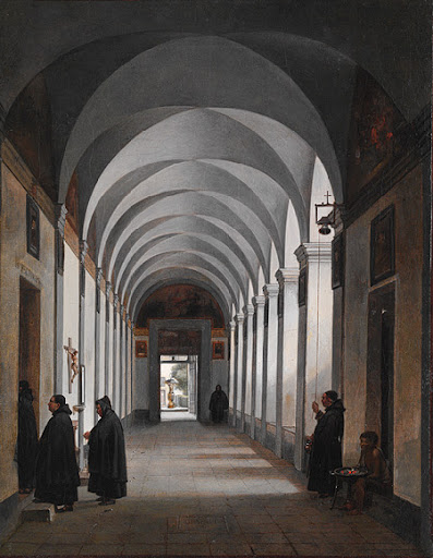 monks in a cloister