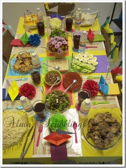 rainbow theme table set up