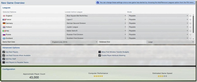 FM 2013 - New Game Overview