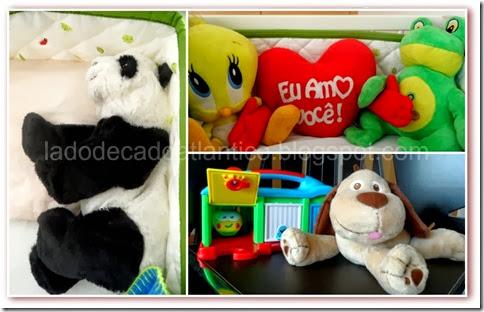 Piu-Piu, Sapo, Panda, Coração e Cachorro de pelúcia