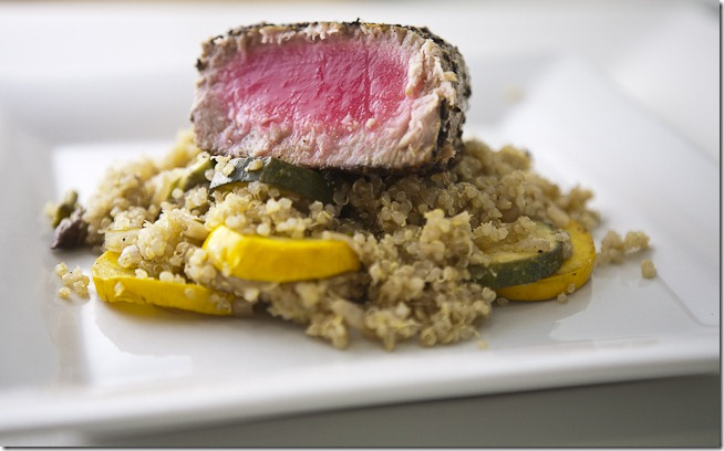 Toasted Fennel Crusted Tuna on a Bed of Spicy Summer Vegetable Quinoa