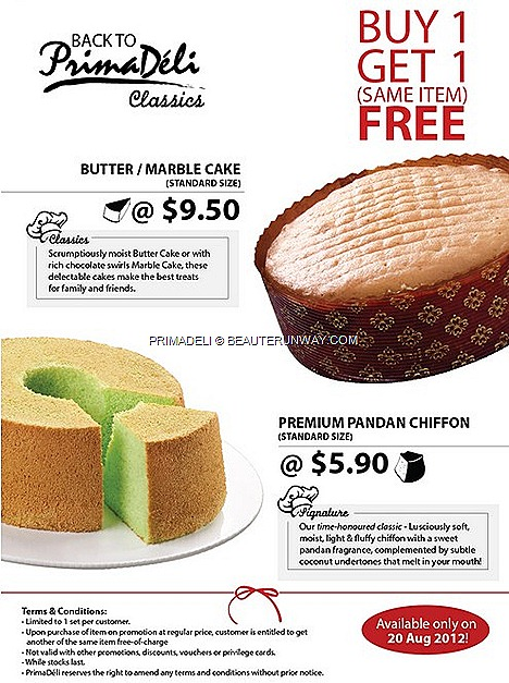 PRIMADELI 1 FOR 1  CAKES OFFER PANDAN CHIFFON CAKE BUTTER CHOCOLATE SWIRLS SWISS MARBLE CAKE MOIST DELICIOUS BEST AROMA 20TH ANNIVERSARY CELEBRATION OFFERS