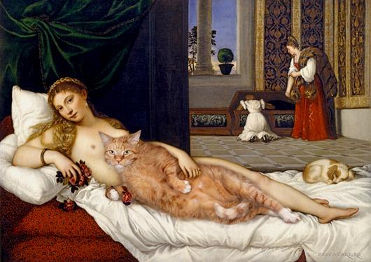 Titian-Venus-of-Urbino-cat-w