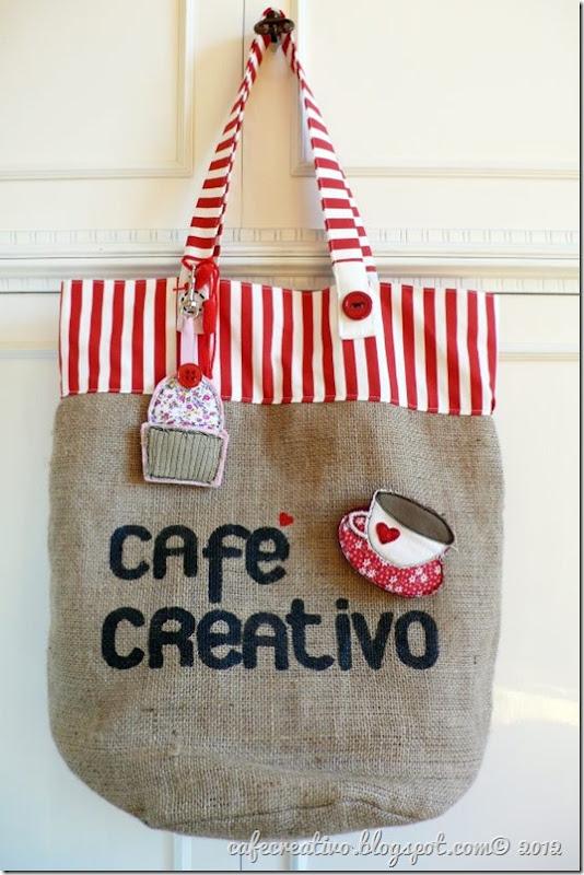 cafe creativo - borsa juta con spilla