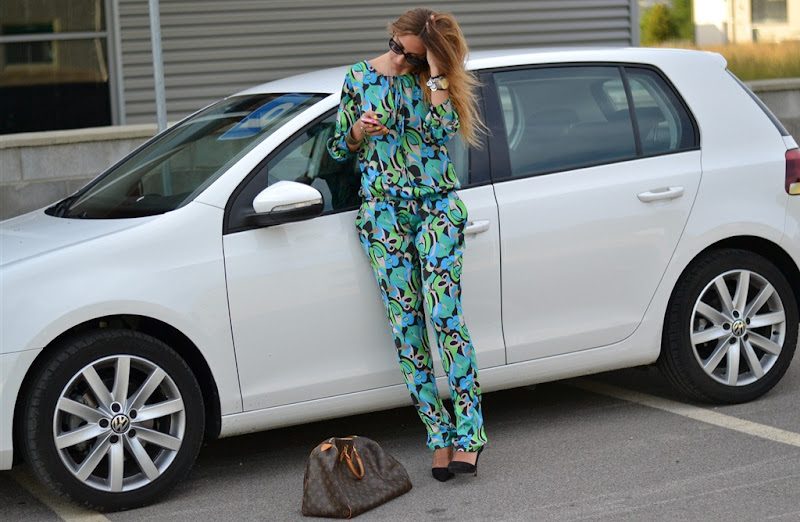 Koralline, Pajama Look, Collaboration, Zara shoes, Louis Vuitton Bag, Speedy 40 Bag, Dior Sunglasses, 