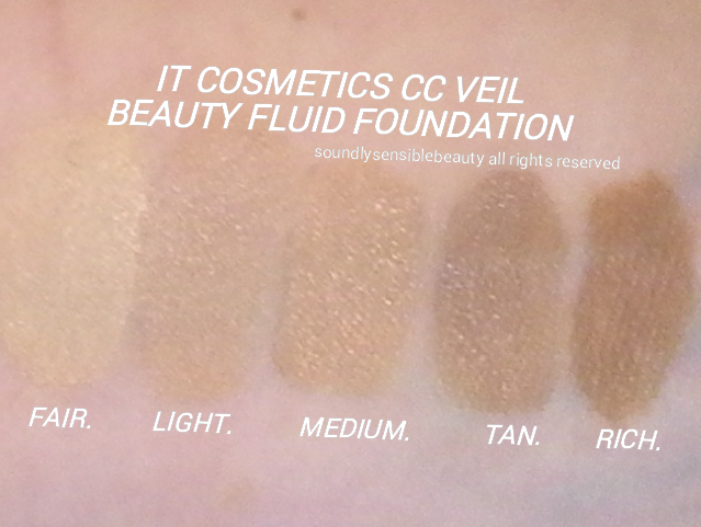 It Cosmetics CC Veil Beauty Fluid Foundation SPF 50 Cushion Compact; Review & Swatches of Shades Fair, Light, Medium, Tan, Rich