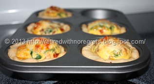 Breakfast Bacon N Egg Biscuit Cups - just out of the oven close-up