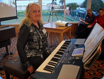 Desiree Barrows playing her Korg Pa500. Photo courtesy of Dennis Lyons.