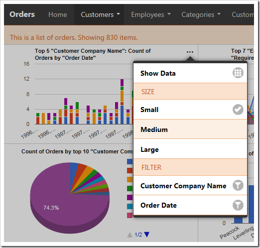 User can define the size for the chart from the context menu