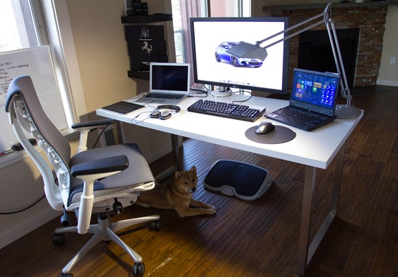 White Computer Desk and White Chair