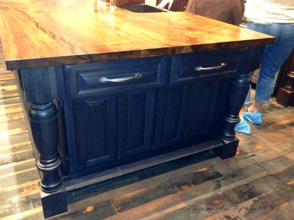 Black kitchen Island with Butcher block top