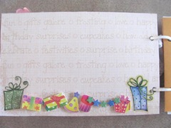 Cape Kellys birthday book matboard writing page with sticker presents