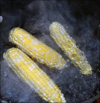 corn in boiling water