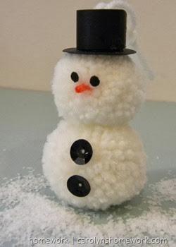 Pom Pom Snowman Ornament via homework | carolynshomework.com