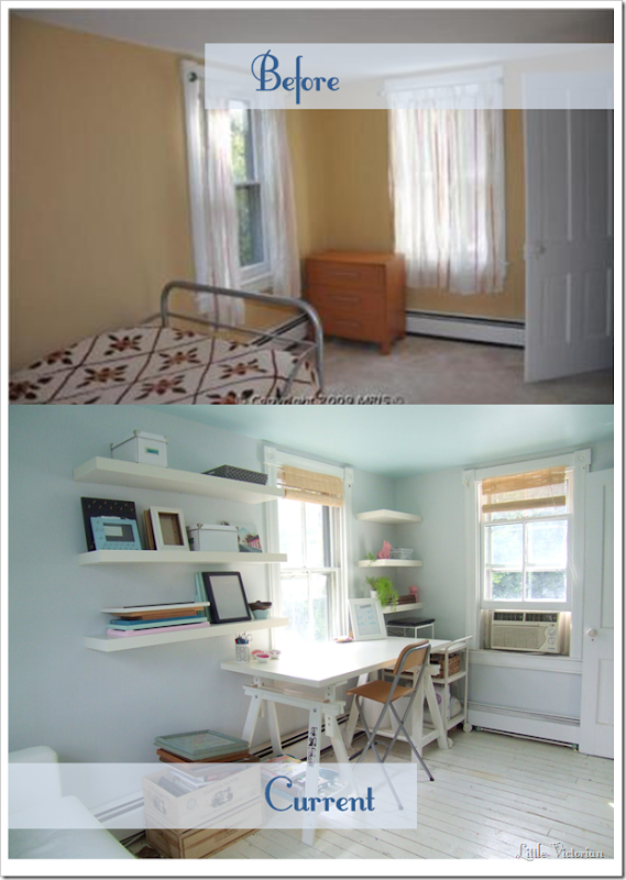Bright small office guest room before and after