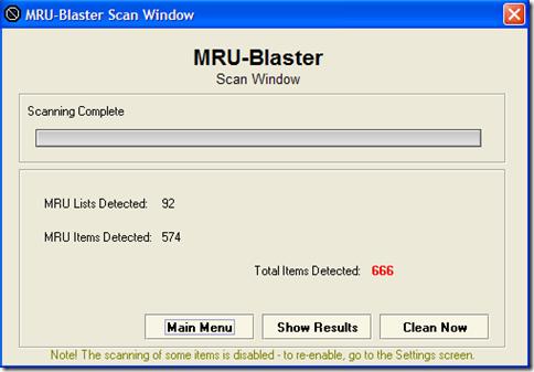 MRU Blaster risultati scansione