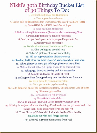 Baker Family  Nikki   s 30th Birthday Bucket List of 30 Things To Do hGJWafoI