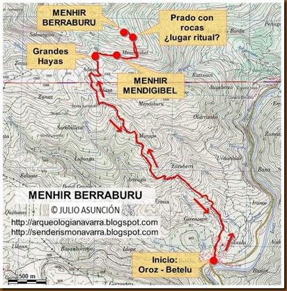 Mapa ruta menhir Berraburu