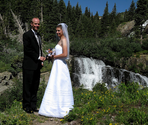 Beautiful setting for a wedding next to two waterfalls along Sneffels Creek in Yankee Boy Basin.