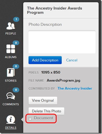 The Details option of the photo viewer contains the Document checkbox