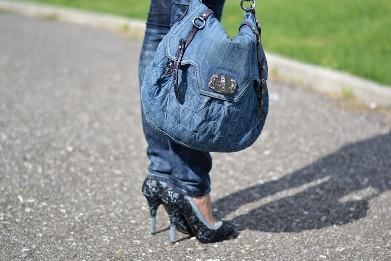 Miu Miu bag, Miu Miu, H&M jeans, jeans, lace, Dolce&Gabbana shoes, Dolce&Gabbana