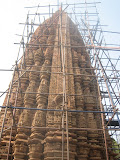 Unfortunately, the temple was under repair when I visited. The repair support structure restricted the view and better photographs.