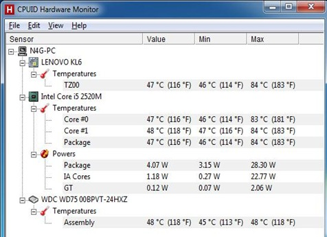 Lenovo IdeaPad z470 benchmark.temperature