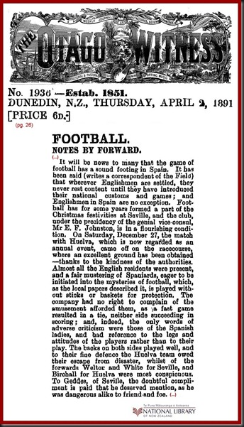Football España 18910402 Otago