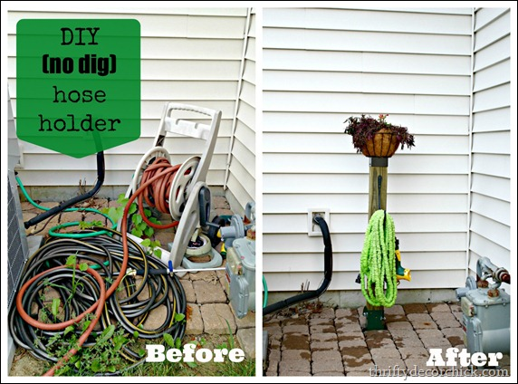 DIY no dig hose holder
