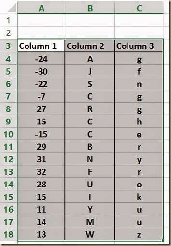 Sorting Multicolumn Data in Excel - Selecting Data To Be Sorted AlongWith Column Headers