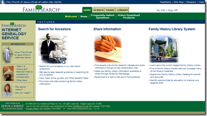 FamilySearch.org as it appeared June 2001