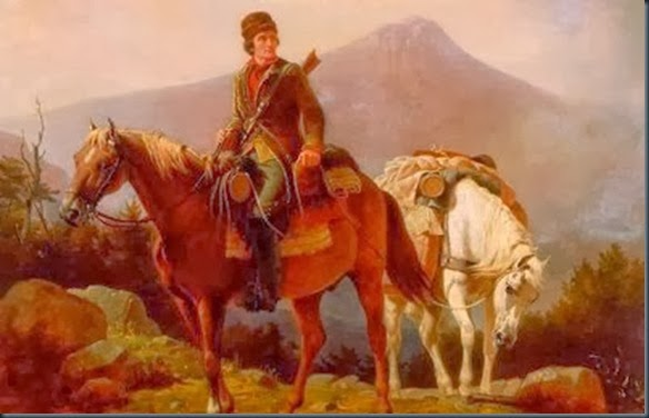 Squire Boone crossing the mountains with stores for his brother Daniel and brother-in-law John Stewart encamped in the wilds of Kentucky.