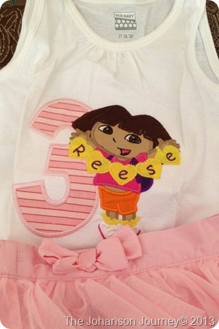 The Johanson Journey Dora Party Embroider Shirt by Ashlyn Grace Designs