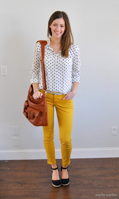 yellow pants + black and white dotted blouse