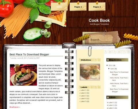 Free Recipe Book Template  Tesem