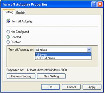 ตั้งค่า turn off autorun ใน windows xp