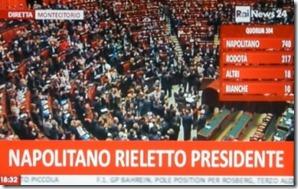 Giorgio Napolitano reeleito presidente de Itália.Abr.2013