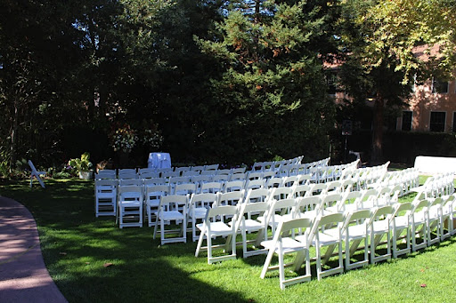 The courtyard was all set up for a ceremony.