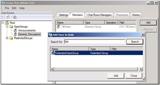 Lync GC Fed - add group to room