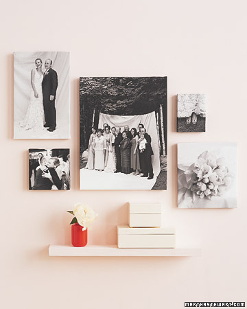 Think outside the frame. Here, we printed images on stretched canvases (ours are from Duggal) and mixed posed and candid shots for a nice contrast.